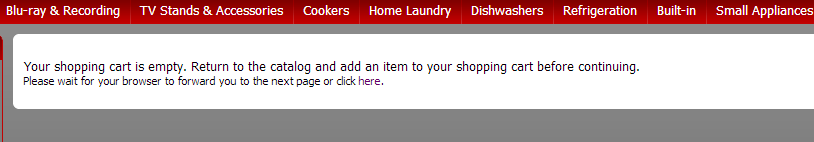 f7934ab08b3 Error message   Your shopping cart is empty. Return to the Catalog ...